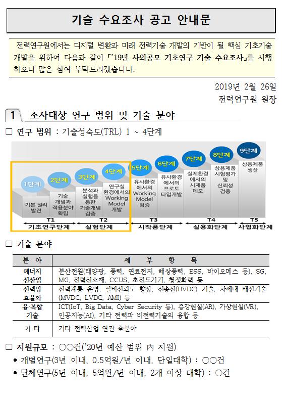 [한전전력연구원] 19년 사외공모 기초연구 기술 수요조사 안내_20190227_001.png
