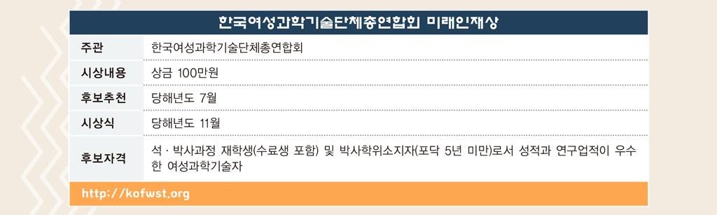한국여성과학기술단체총연합회 미래인재상